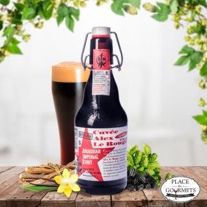 """Stout Noire """"Alex le rouge"""" de la brasserie des Franches-montagnes"""