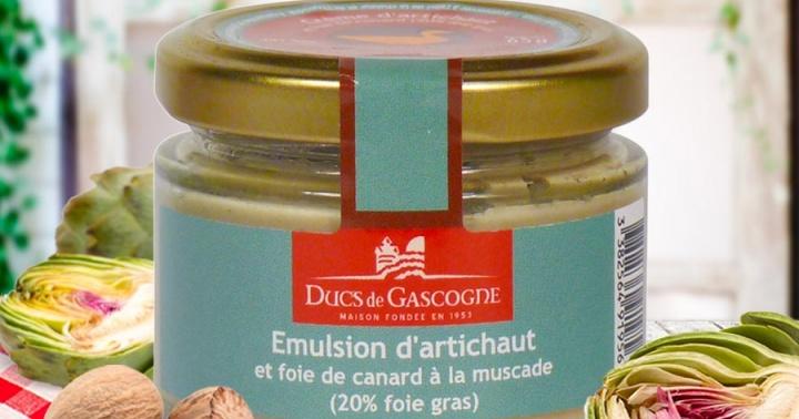Émulsion d'artichaut et foie gras de canard à la muscade